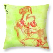Red On Green Figure Throw Pillow