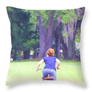 Red On Her Bike Throw Pillow