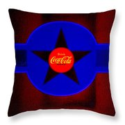 Red On Red With Blue Throw Pillow