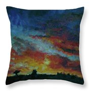 Red Orange Evening Throw Pillow