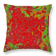 Red Orange Green Abstract Painting Throw Pillow
