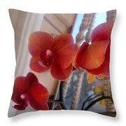 Red Orchid Flowers 01 Throw Pillow