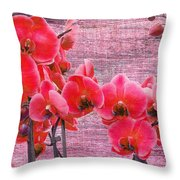 Red Orchids On Linen Zen Throw Pillow