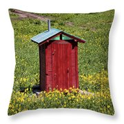 Red Outhouse 3 Throw Pillow