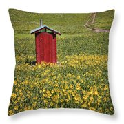 Red Outhouse 6 Throw Pillow