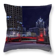 Red Over Ice Throw Pillow