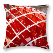 Red Paddle Wheel Throw Pillow