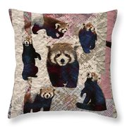 Red Panda Abstract Mixed Media Digital Art Collage Throw Pillow