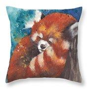 Red Panda Sleeping Throw Pillow