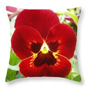Red Pansy Throw Pillow