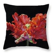 Red Parrot Tulip - Oils Throw Pillow