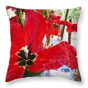 Red Party Flowers IIi Throw Pillow