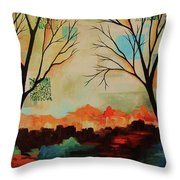Red Tree Path Throw Pillow
