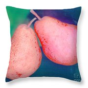 Red Pears On Blue Green Throw Pillow