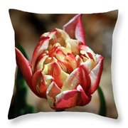 Red Peony Tulip Throw Pillow