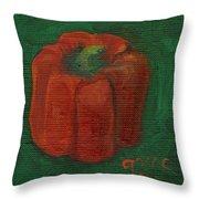 Red Pepper On Linen Throw Pillow