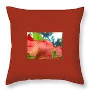 Red Petunia Swirl Throw Pillow