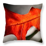 Red Pin Oak Leaf Throw Pillow