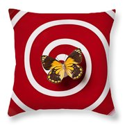 Red Plate And Yellow Black Butterfly Throw Pillow by Garry Gay