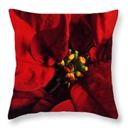 Red Poinsettia Floral Art Throw Pillow