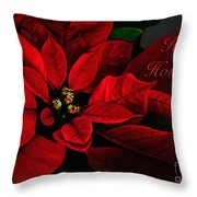 Red Poinsettia Happy Holidays Card Throw Pillow