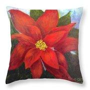 Red Poinsettia Throw Pillow