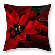 Red Poinsettia Merry Christmas Card Throw Pillow