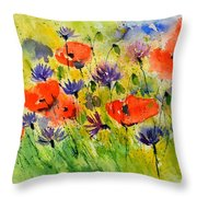 Red Poppies And Cornflowers Throw Pillow