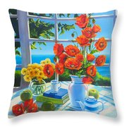 Red Poppies And Green Apples Throw Pillow