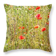 Red Poppies And Wild Flowers Throw Pillow