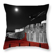Red Poppies At Tower Of London With Spitfire Flypast Throw Pillow
