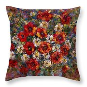 Red Poppies Bouquet Throw Pillow
