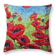 Red Poppies By Prankearts Throw Pillow