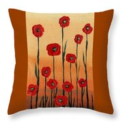 Red Poppies Decorative Art Throw Pillow