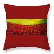 Red Poppies Field  Throw Pillow