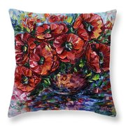 Red Poppies In A Vase Throw Pillow