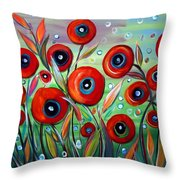 Red Poppies In Grass Throw Pillow