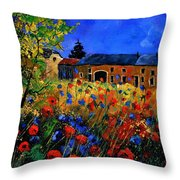 Red Poppies In Houroy Throw Pillow