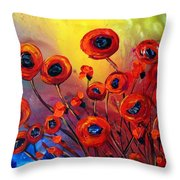 Red Poppies In Rain Throw Pillow