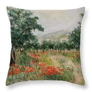Red Poppies In The Olive Garden Throw Pillow
