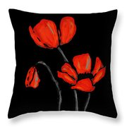 Red Poppies On Black By Sharon Cummings Throw Pillow