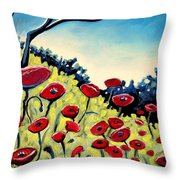 Red Poppies Under A Blue Sky Throw Pillow