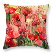 Red Poppies Wearing Pink Throw Pillow
