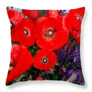 Red Poppy Cluster With Purple Lavender Throw Pillow