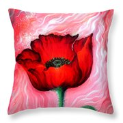 Red Poppy Flower. Pink Sunset Throw Pillow