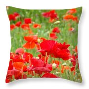 Red Poppy Flowers Meadow Art Prints Poppies Baslee Troutman Throw Pillow