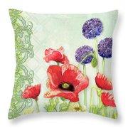 Red Poppy Purple Allium IIi - Retro Modern Patterns Throw Pillow