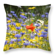One Red Poppy Amongst The Wildflowers Throw Pillow