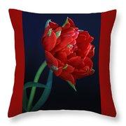 Red Princess Tulip On Blue Throw Pillow