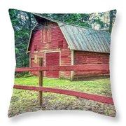 Red Rail Barn Throw Pillow